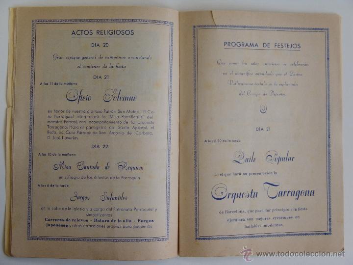 Folletos de turismo: PROGRAMA DE FIESTA MAYOR DE SAN MATEO VALLIRANA 1951 - Foto 3 - 51064546
