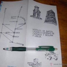 Folletos de turismo: HOTELES DE BAEZA, CAZORLA, SIERRA DE CAZORLA Y SEGURA, Y UBEDA.. Lote 51187171