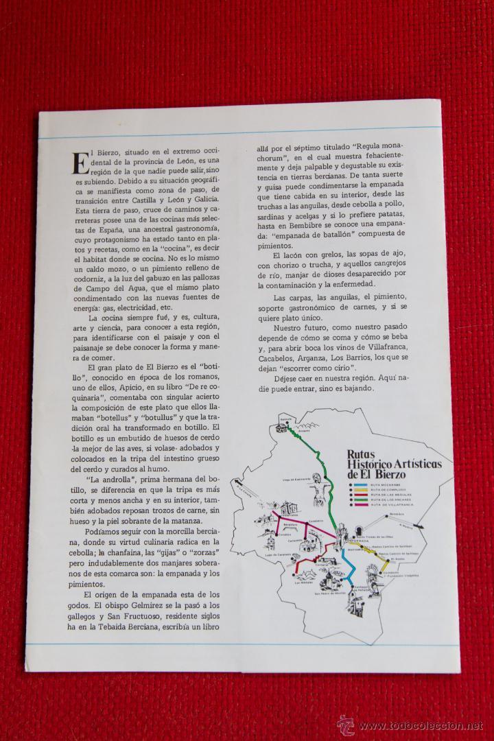 Folletos de turismo: GASTRONOMIA BERCIANA - FOLLETO TRIPTICO - Foto 4 - 51239234