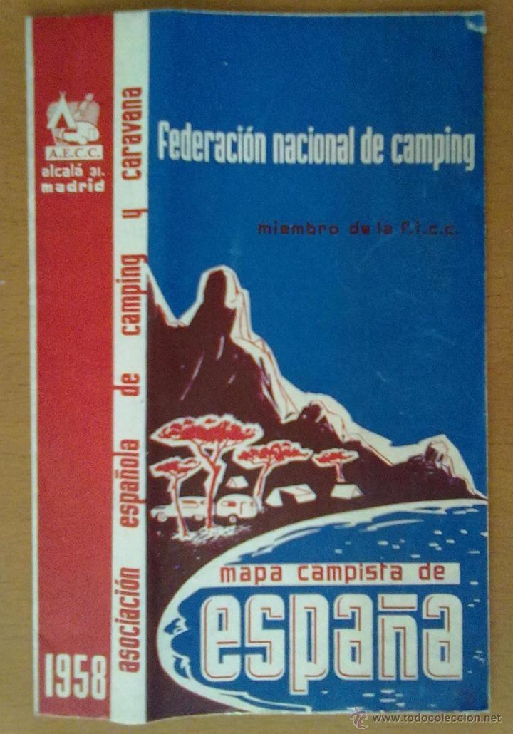 MAPA CAMPISTA DE ESPAÑA 1958 (Coleccionismo - Folletos de Turismo)