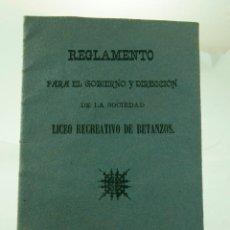Folletos de turismo: RARO LICEO RECREATIVO DE BETANZOS 1916. Lote 52636922