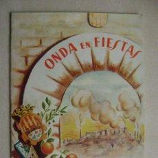 Folletos de turismo: ONDA EN FIESTAS.PROGRAMA 1957.-319. Lote 53053567