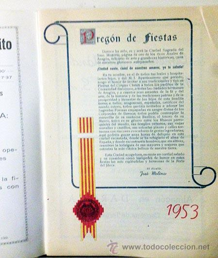 Folletos de turismo: Daroca. Fiestas del Corpus Christi 1953. Programa Oficial. - Foto 2 - 58676659