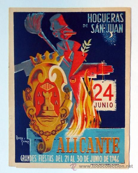 ALICANTE PROGRAMA DE FIESTAS DE HOGUERAS 1946, TRIPTICO-FOGUERES DE SANT JOAN (Coleccionismo - Folletos de Turismo)