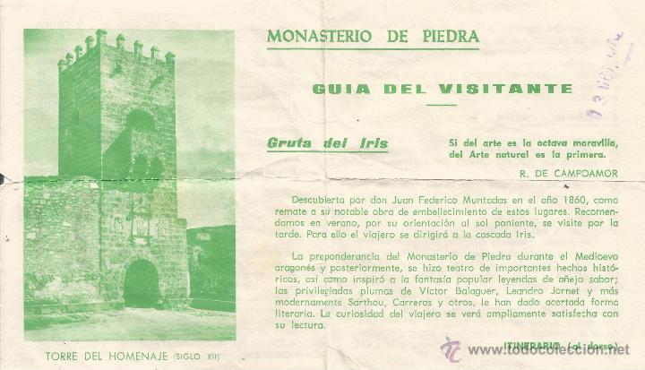 == PA120 - MONASTERIO DE PIEDRA - GUIA DEL VISITANTE (Coleccionismo - Folletos de Turismo)