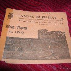 Folletos de turismo: BILLETE ANTIGUO.VISITA TEATRO ROMANO,ITALIA AÑO 1955. Lote 53877124