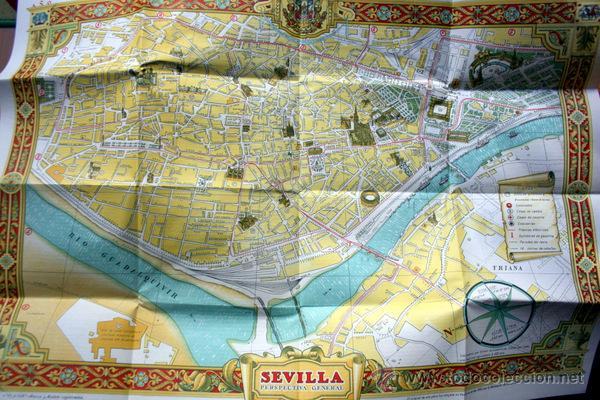 SEVILLA ARTISTICA - PLANO TURISTICO - CON DESCRIPCIÓN DE SUS MONUMENTOS Y CON PUBLICIDAD (Coleccionismo - Folletos de Turismo)