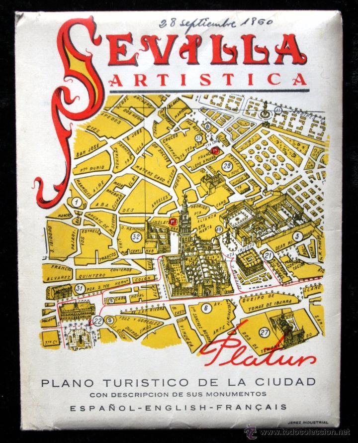 Folletos de turismo: SEVILLA ARTISTICA - PLANO TURISTICO - con descripción de sus monumentos y con Publicidad - Foto 2 - 53889794