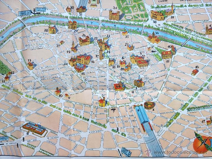 Mapa De La Ciudad De Valencia España.Antiguo Mapa Ciudad De Valencia 1958 Fomento Del Turismo Map Of Valencia Texto En Ingles
