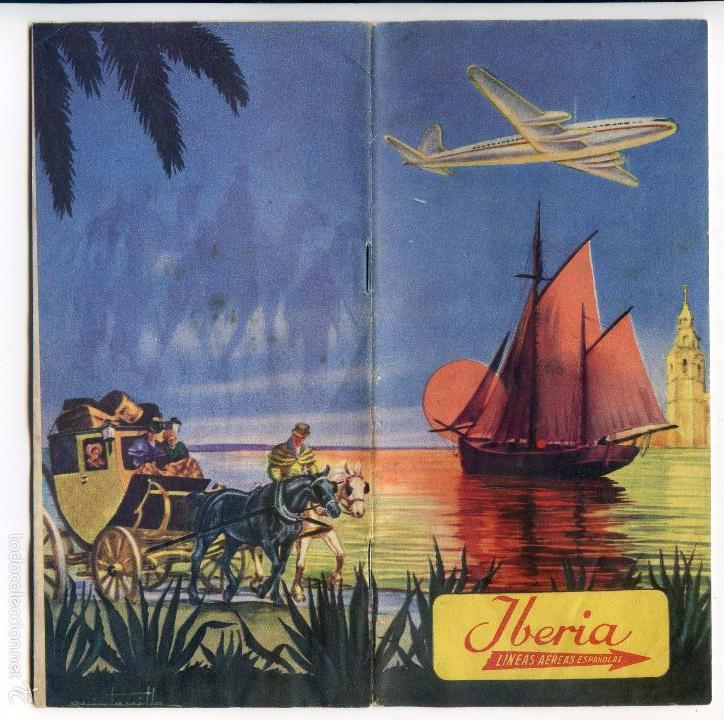 IBERIA, LÍNEAS AÉREAS ESPAÑOLAS, FOLLETO DE 1953, ILUSTRADO POR QUINTANILLA, MAPA DE LÍNEAS (Coleccionismo - Folletos de Turismo)