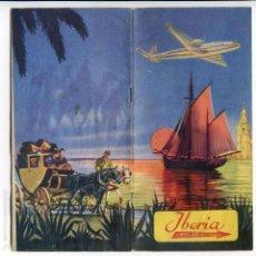 Folletos de turismo: IBERIA, LÍNEAS AÉREAS ESPAÑOLAS, FOLLETO DE 1953, ILUSTRADO POR QUINTANILLA, MAPA DE LÍNEAS. Lote 55345346