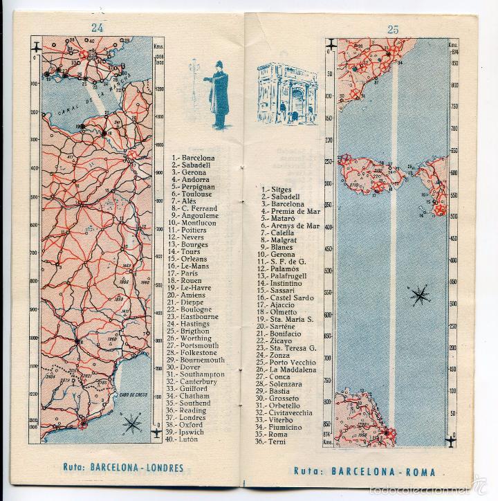 Folletos de turismo: Iberia, Líneas aéreas españolas, folleto de 1953, ilustrado por Quintanilla, mapa de líneas - Foto 2 - 55345346