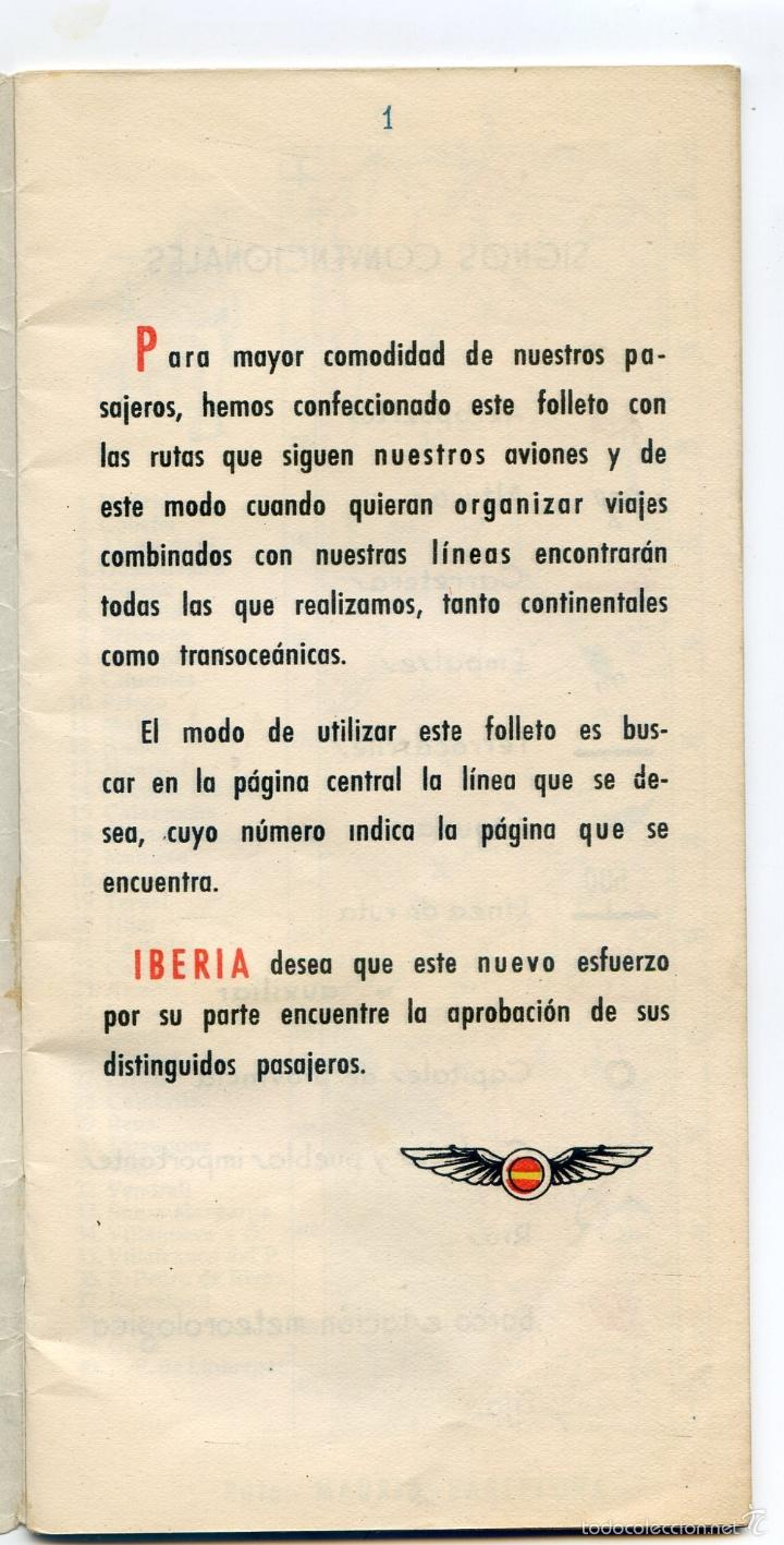 Folletos de turismo: Iberia, Líneas aéreas españolas, folleto de 1953, ilustrado por Quintanilla, mapa de líneas - Foto 3 - 55345346