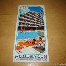 Folletos de turismo: ANTIGUO FOLLETO PUBLICITARIO HOTEL PONDEROSA - TENERIFE. Lote 55997279
