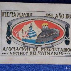 Folletos de turismo: FIESTA MAYOR / ASOCIACIÓN DE PROPIETARIOS Y VECINOS DEL GUINARDO / 1921. Lote 56261310