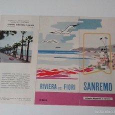 Folletos de turismo: CATALOGO ANTIGUO DE SAN REMO AÑO 1956. Lote 56512674
