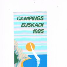 Folletos de turismo: FOLLETO TURISMO ANTIGUO CAMPINGS EUSKADI 1985. Lote 56853035