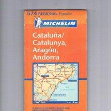 Folletos de turismo: FOLLETO TURISMO ANTIGUO CATALUÑA ARAGÓN ANDORRA PLANOS DE CIUDADES MICHELIN 574 REGIONAL ESPAÑA. Lote 56853631