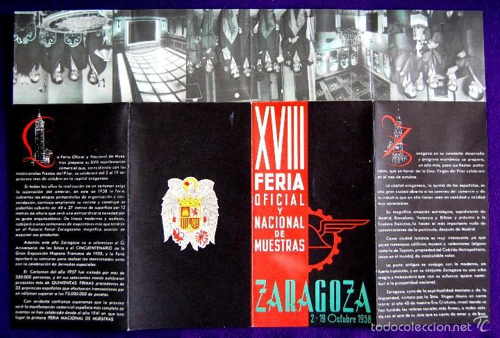 Folletos de turismo: FOLLETO XVIII FERIA OFICIAL Y NACIONAL DE MUESTRAS. ZARAGOZA 2-19 OCTUBRE 1958. UNA GRANDE Y LIBRE. - Foto 4 - 57120342