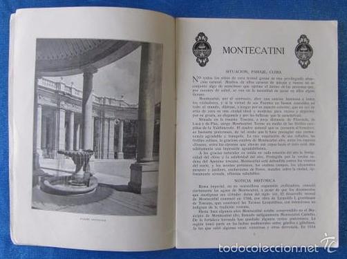 Folletos de turismo: Nº 8 MONTECATINI. ESTACIÓN DE CURA DE RENOMBRE SECULAR. SOCIETÀ EDITRICE DI NOVISSIMA. ROMA, 1929 - Foto 4 - 57202409