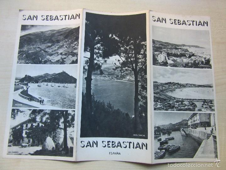 Folletos de turismo: Triptico de San Sebastian Años 40 o 50 - Foto 2 - 57258825