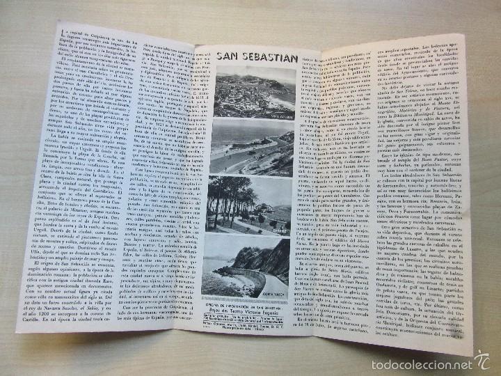 Folletos de turismo: Triptico de San Sebastian Años 40 o 50 - Foto 3 - 57258825