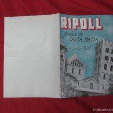 Folletos de turismo: RIPOLL FIESTAS DE SANTA MARIA. AGOSTO 1940.. Lote 57268295