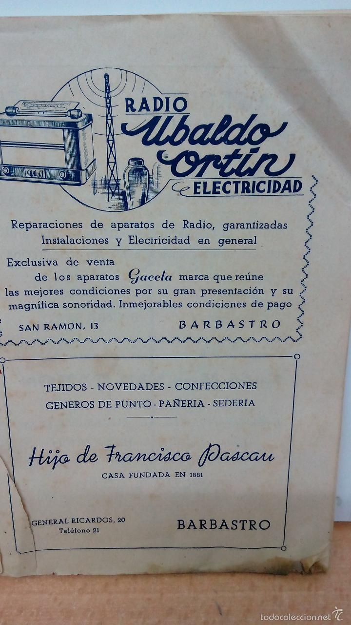 + BARBASTRO HUESCA. ANTIGUO PROGRAMA DE FIESTAS ORIGINAL DEL AÑO 1947. MUCHA PUBLICIDAD (Coleccionismo - Folletos de Turismo)