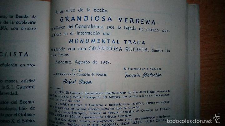 Folletos de turismo: + Barbastro Huesca. antiguo programa de fiestas original del año 1947. Mucha publicidad - Foto 2 - 57455495