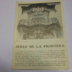Folletos de turismo: JEREZ DE LA FRONTERA CADIZ FOLLETO DE TURISMO ANTIGUO. Lote 57580674