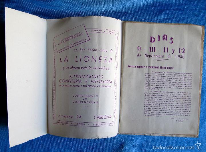 Folletos de turismo: CARDONA. FIESTA MAYOR, 1950. DÍAS 9 - 10- 11 Y 12 DE SEPTIEMBRE DE 1950. - Foto 2 - 57608118