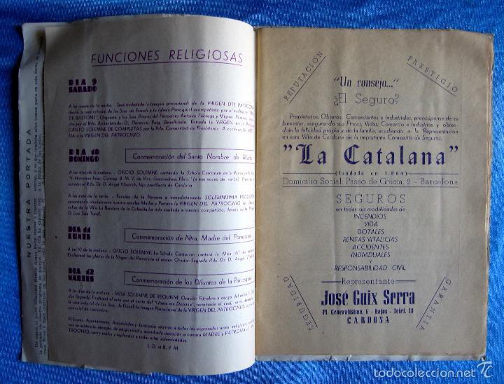 Folletos de turismo: CARDONA. FIESTA MAYOR, 1950. DÍAS 9 - 10- 11 Y 12 DE SEPTIEMBRE DE 1950. - Foto 3 - 57608118