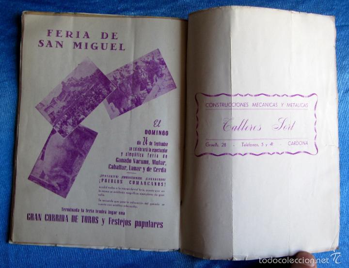 Folletos de turismo: CARDONA. FIESTA MAYOR, 1950. DÍAS 9 - 10- 11 Y 12 DE SEPTIEMBRE DE 1950. - Foto 6 - 57608118