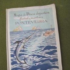 Folletos de turismo: MAPA DE PESCA DEPORTIVA FLUVIAL Y MARITIMA - PONTEVEDRA - AÑO 1948.. Lote 57763573
