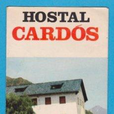 Folletos de turismo: HOSTAL CARDÓS, APARTAMENTOS CARDÓS. TRÍPTICO PUBLICITARIO, AÑOS 60-70. Lote 57948883
