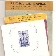 Folletos de turismo: LOTE 3 PROGAMAS DE FIESTAS DE LLOSA DE RANES (VALENCIA) AÑOS 1958, 1960 Y 1961. Lote 57987907