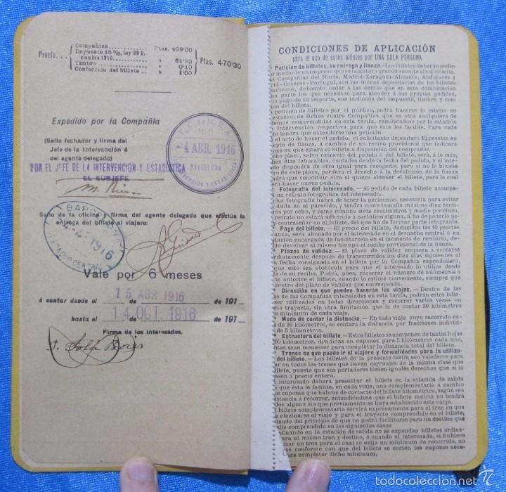 Folletos de turismo: BILLETE POR KILÓMETROS. PRIMERA CLASE. SERIE G. 6.000 KILÓMETROS. FERROCARRILES DE ESPAÑA, 1916 - Foto 4 - 58580666