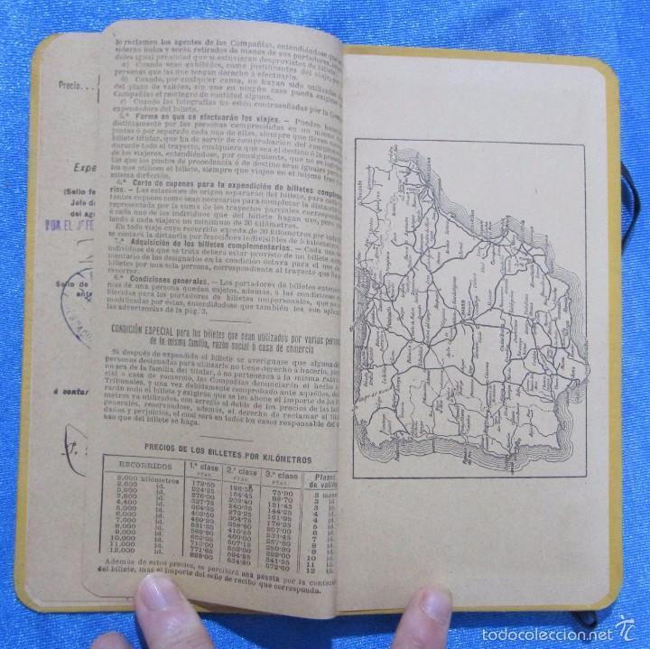 Folletos de turismo: BILLETE POR KILÓMETROS. PRIMERA CLASE. SERIE G. 6.000 KILÓMETROS. FERROCARRILES DE ESPAÑA, 1916 - Foto 5 - 58580666