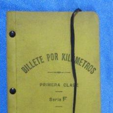 Folletos de turismo: BILLETE POR KILÓMETROS. PRIMERA CLASE. SERIE F. 5.000 KILÓMETROS. FERROCARRILES DE ESPAÑA, 1909. Lote 58580710