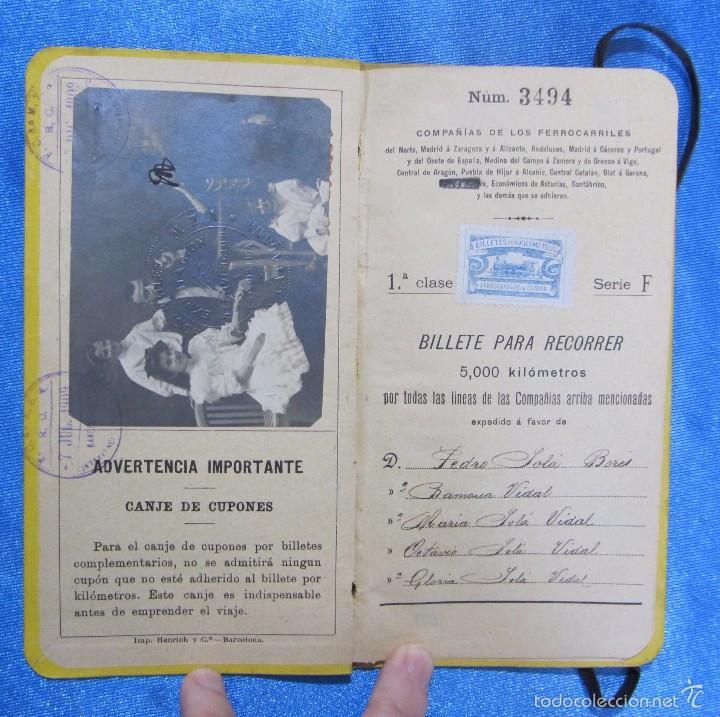Folletos de turismo: BILLETE POR KILÓMETROS. PRIMERA CLASE. SERIE F. 5.000 KILÓMETROS. FERROCARRILES DE ESPAÑA, 1909 - Foto 3 - 58580710