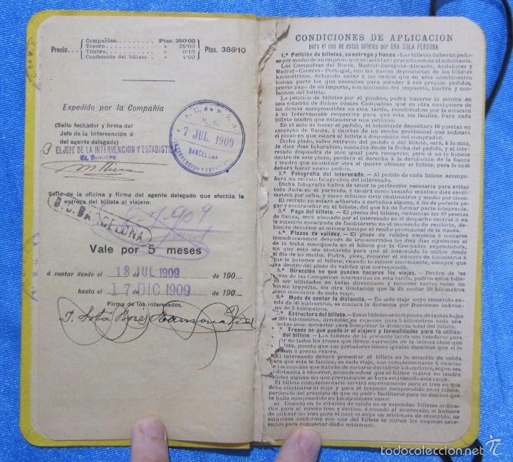 Folletos de turismo: BILLETE POR KILÓMETROS. PRIMERA CLASE. SERIE F. 5.000 KILÓMETROS. FERROCARRILES DE ESPAÑA, 1909 - Foto 4 - 58580710