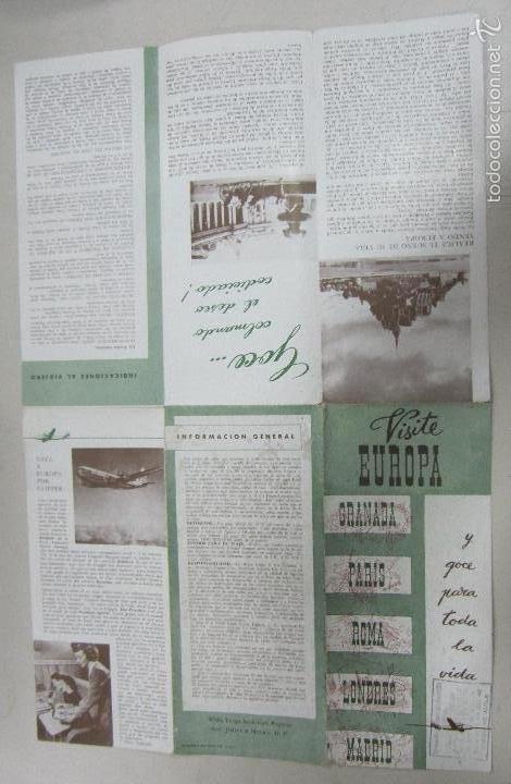 FOLLETO DE TURISMO. VISITE EUROPA. GRANADA, PARIS, ROMA, LONDRES Y MADRID. TARIFA DE PRECIOS. VER (Coleccionismo - Folletos de Turismo)