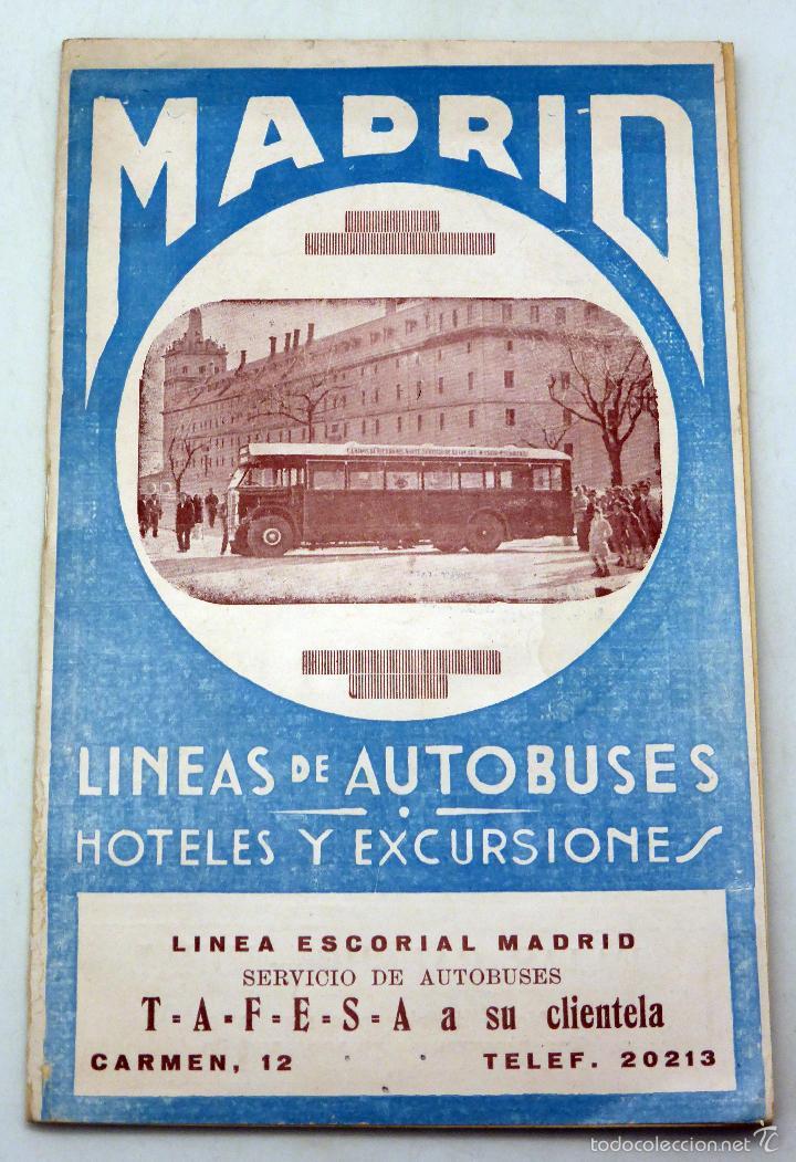 GUÍA LÍNEAS AUTOBUSES MADRID HOTELES Y EXCURSIONES TAFESA AÑOS 20 (Coleccionismo - Folletos de Turismo)