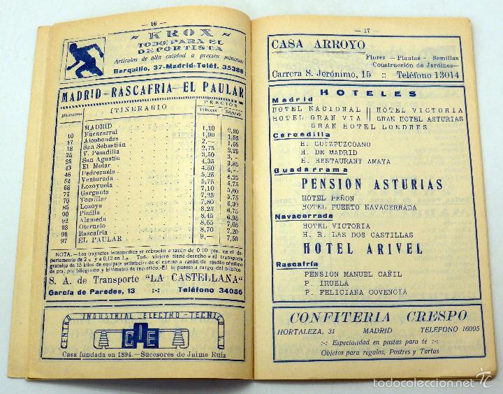 Folletos de turismo: Guía Líneas Autobuses Madrid Hoteles y Excursiones TAFESA años 20 - Foto 2 - 59034455