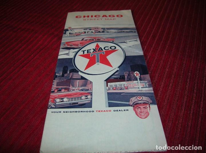 ANTIGUO MAPA DE CHICAGO,ANUNCIA TEXACO (Coleccionismo - Folletos de Turismo)