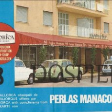 Folletos de turismo: PUBLICIDAD, TRÍPTICO, PERLAS MANACOR, CON MAPA DE MALLORCA, 1975. Lote 62743320