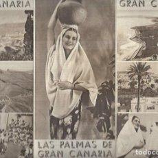 Brochures de tourisme: TRIPTICO TURISTICO DE LAS PALMAS DE GRAN CANARIA - FOTO DE BAENA DE - AÑOS 50 - 60. Lote 63286460