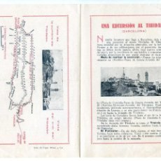 Folletos de turismo: BARCELONA. UNA EXCURSIÓN AL TIBIDABO (CASTELLANO Y CATALÁN) DÍPTICO, AÑOS 30. Lote 63407136
