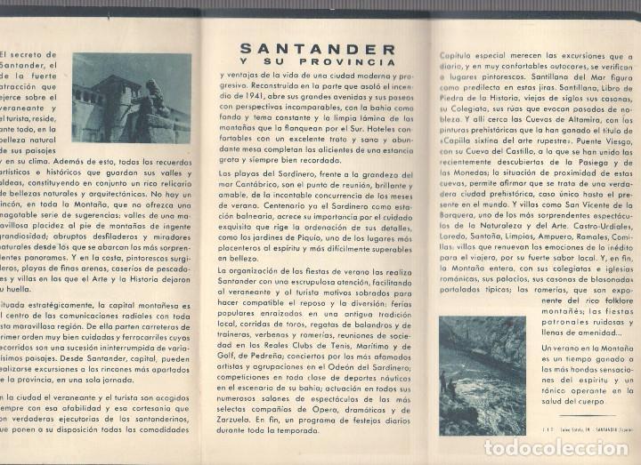 Folletos de turismo: FOLLETO TURISMO PROVINCIA SANTANDER. SOMO, AJO, CASTRO-URDIALES. AÑOS 40 - Foto 2 - 64302559