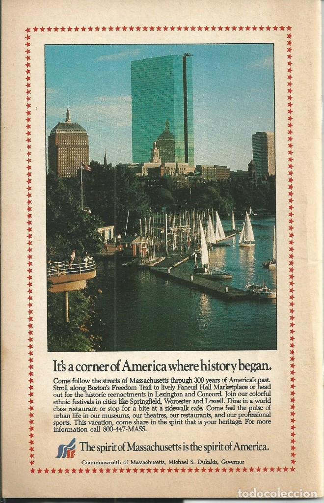 Folletos de turismo: BOSTON COMPLETE GUIDE AND BEYON (ALRREDEDORES).USA. GUIA CON MAPAS INFORMACION PUBLICIDAD 1987 - Foto 6 - 64733467